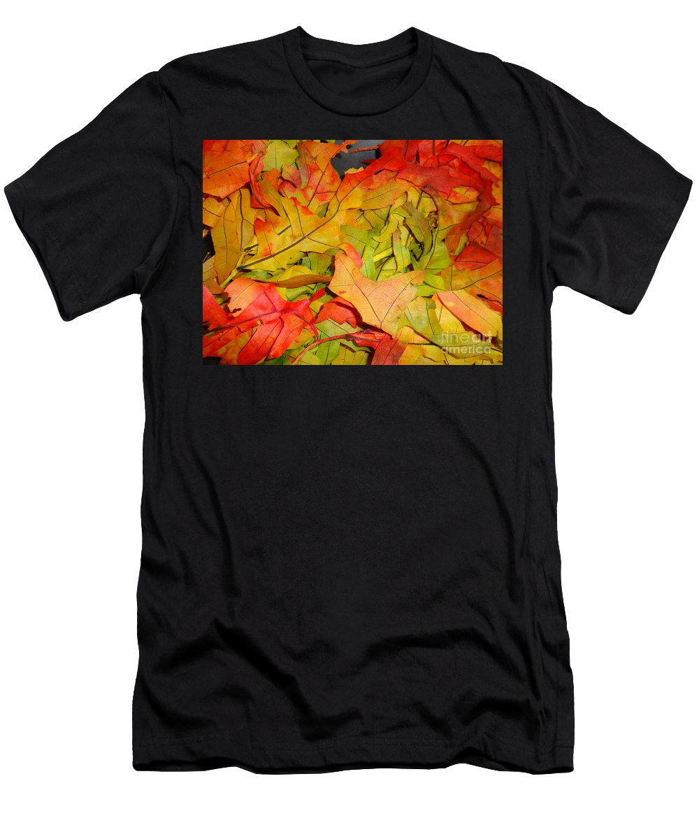 Leaves Men's T-Shirt (Athletic Fit) featuring the photograph Autumn Gathering by Maria Bonnier-Perez