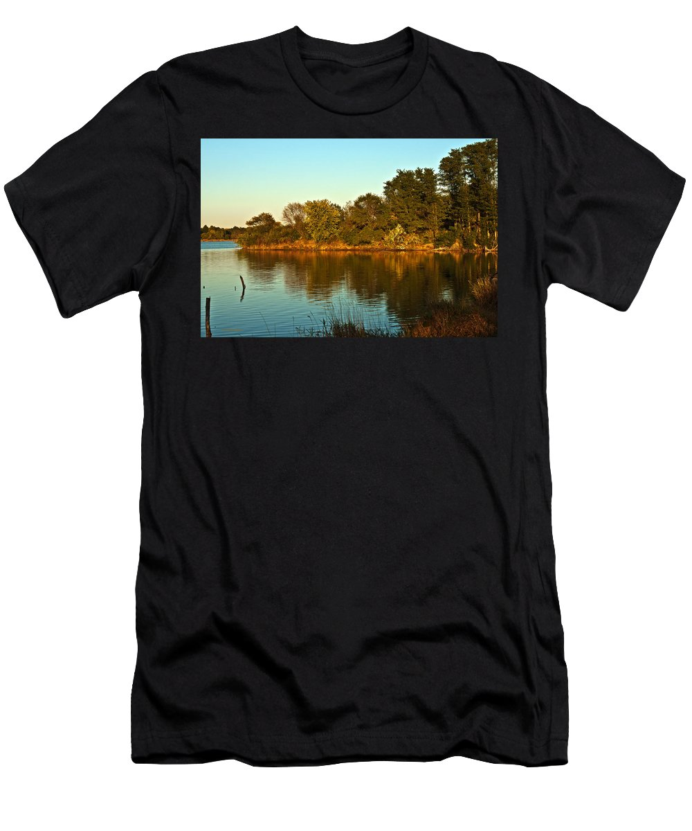 Fall Men's T-Shirt (Athletic Fit) featuring the photograph Autumn Sunset by Edward Peterson