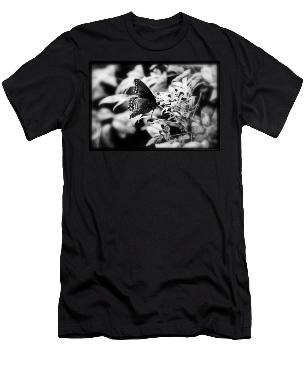 Black And White Men's T-Shirt (Athletic Fit) featuring the photograph B N W Butterfly by Sheri Bartoszek