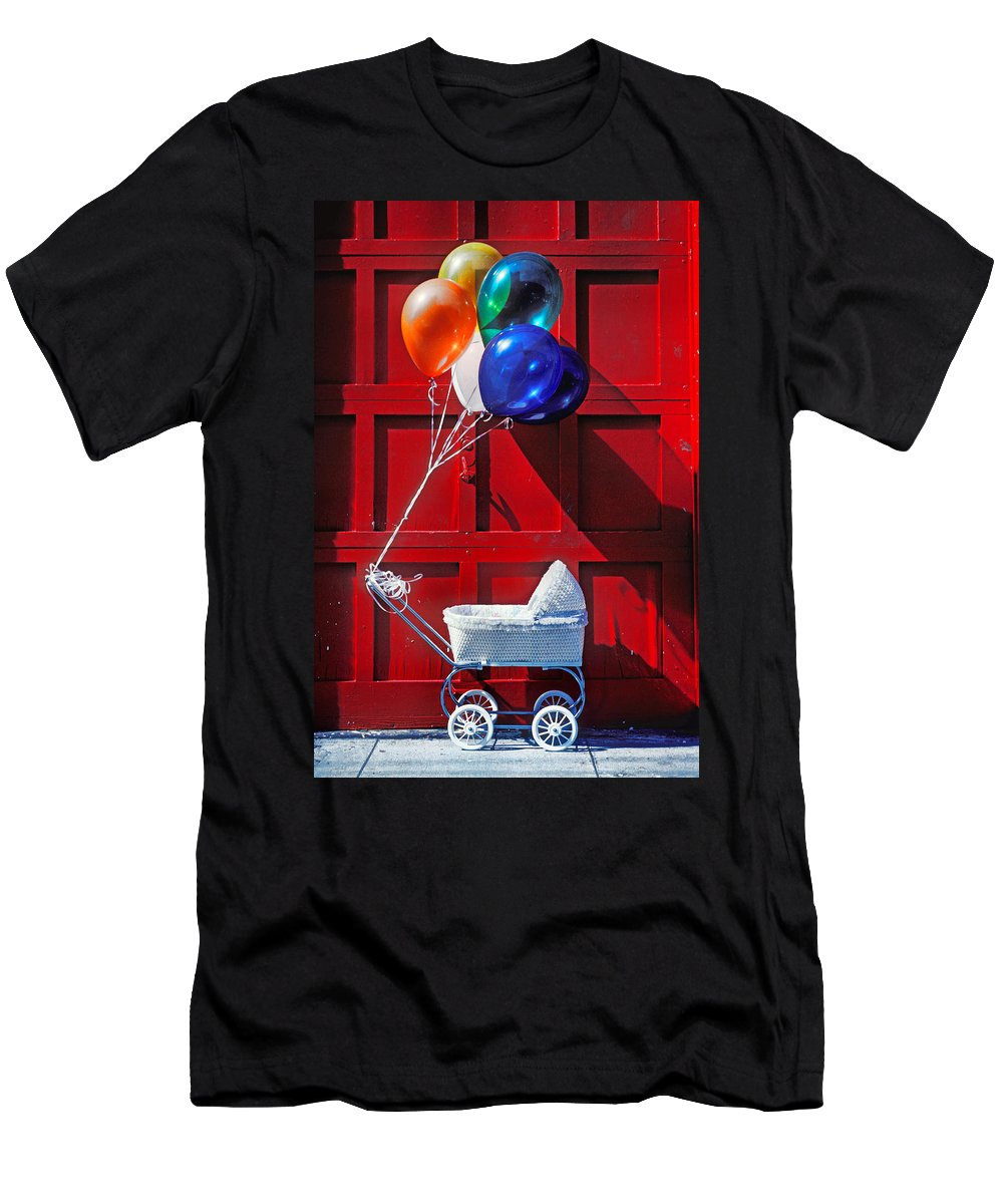 Baby Buggy Balloons Men's T-Shirt (Athletic Fit) featuring the photograph Baby Buggy With Balloons by Garry Gay