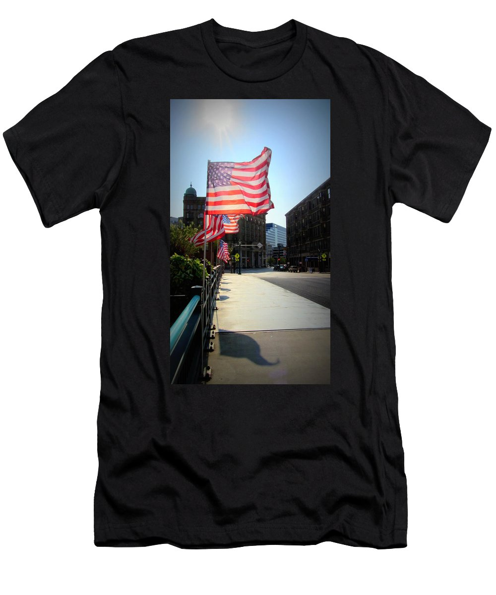 Milwaukee Men's T-Shirt (Athletic Fit) featuring the photograph Backlit Flag by Anita Burgermeister