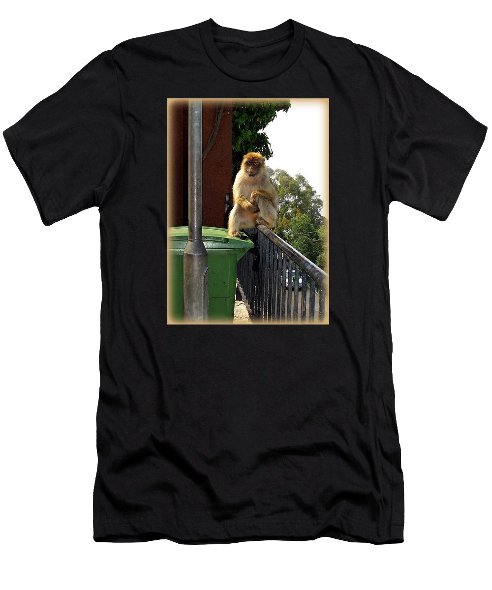 Barbary Men's T-Shirt (Athletic Fit) featuring the photograph Barbary Ape by Carla Parris