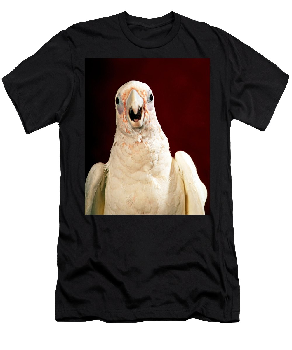 Bare Eyed Cockatoo Men's T-Shirt (Athletic Fit) featuring the photograph Bare Eyed Cockatoo Speaks by Larry Allan