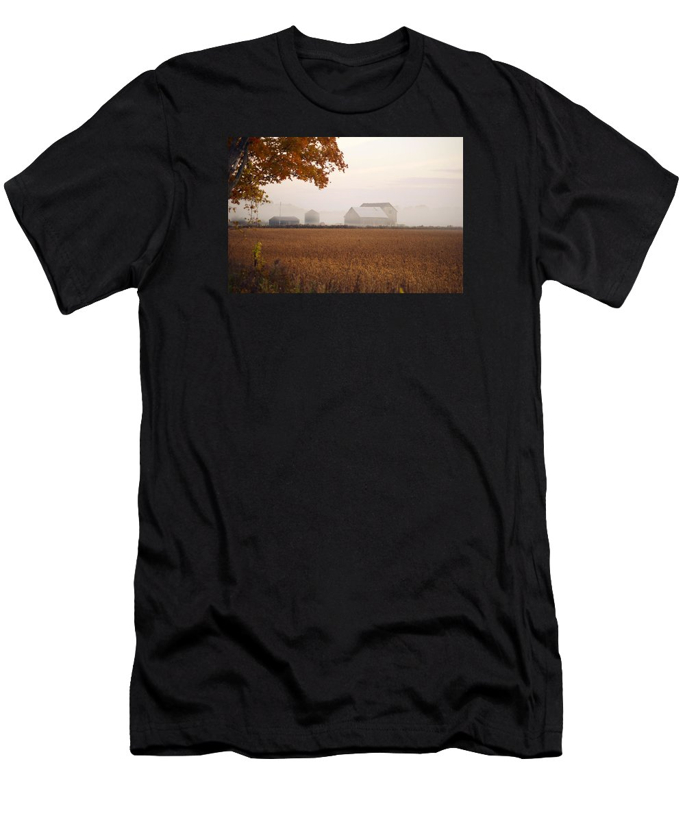Barn Men's T-Shirt (Athletic Fit) featuring the photograph Barn In Mist by Elaine Mikkelstrup