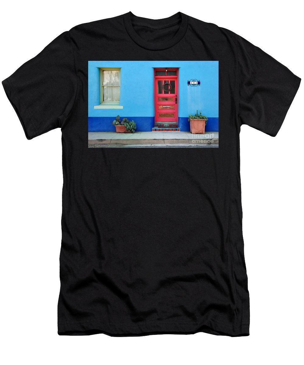 Barrio Men's T-Shirt (Athletic Fit) featuring the photograph Barrio Door Pink by Mark Valentine