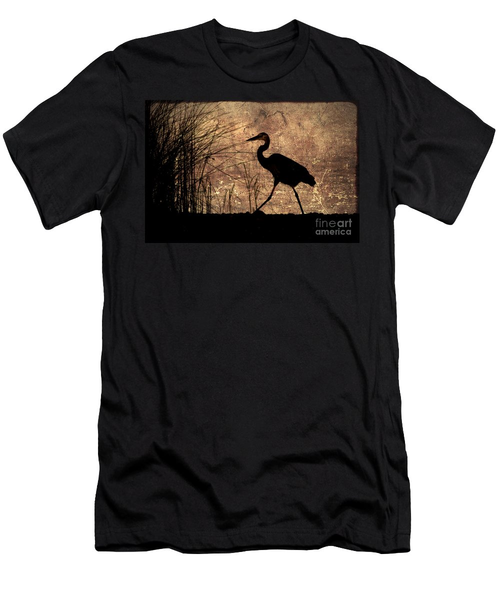 Heron Men's T-Shirt (Athletic Fit) featuring the photograph Bayou Walk by Joan McCool