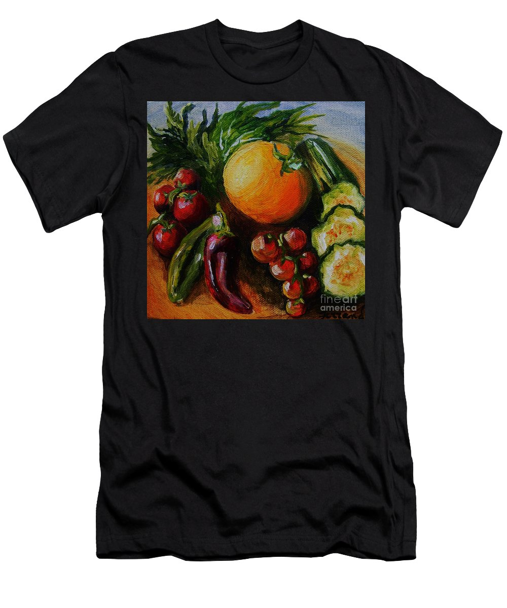 Still Life. Food Men's T-Shirt (Athletic Fit) featuring the painting Beauty Of Good Eats by Karen Ferrand Carroll
