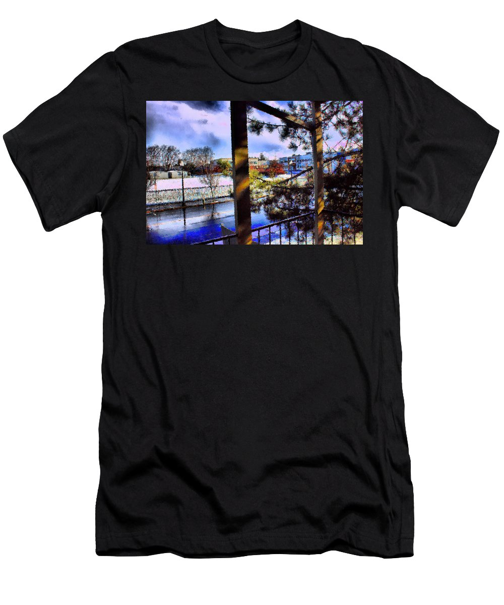 Urban Impressionism 2011 Men's T-Shirt (Athletic Fit) featuring the mixed media Beaverton H.s. Winter 2011 by Terence Morrissey