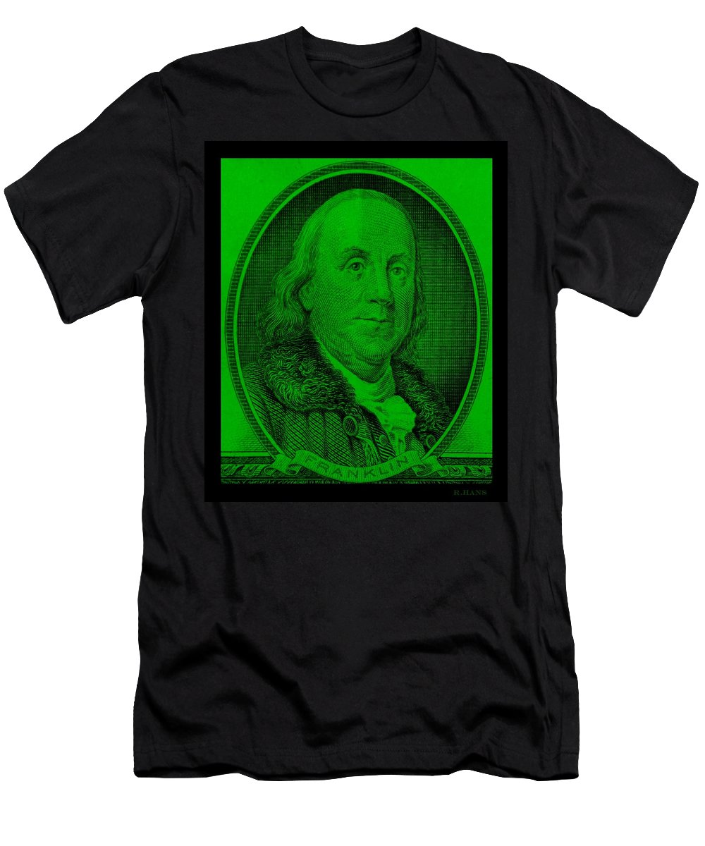 Ben Franklin Men's T-Shirt (Athletic Fit) featuring the photograph Ben Franklin In Green by Rob Hans