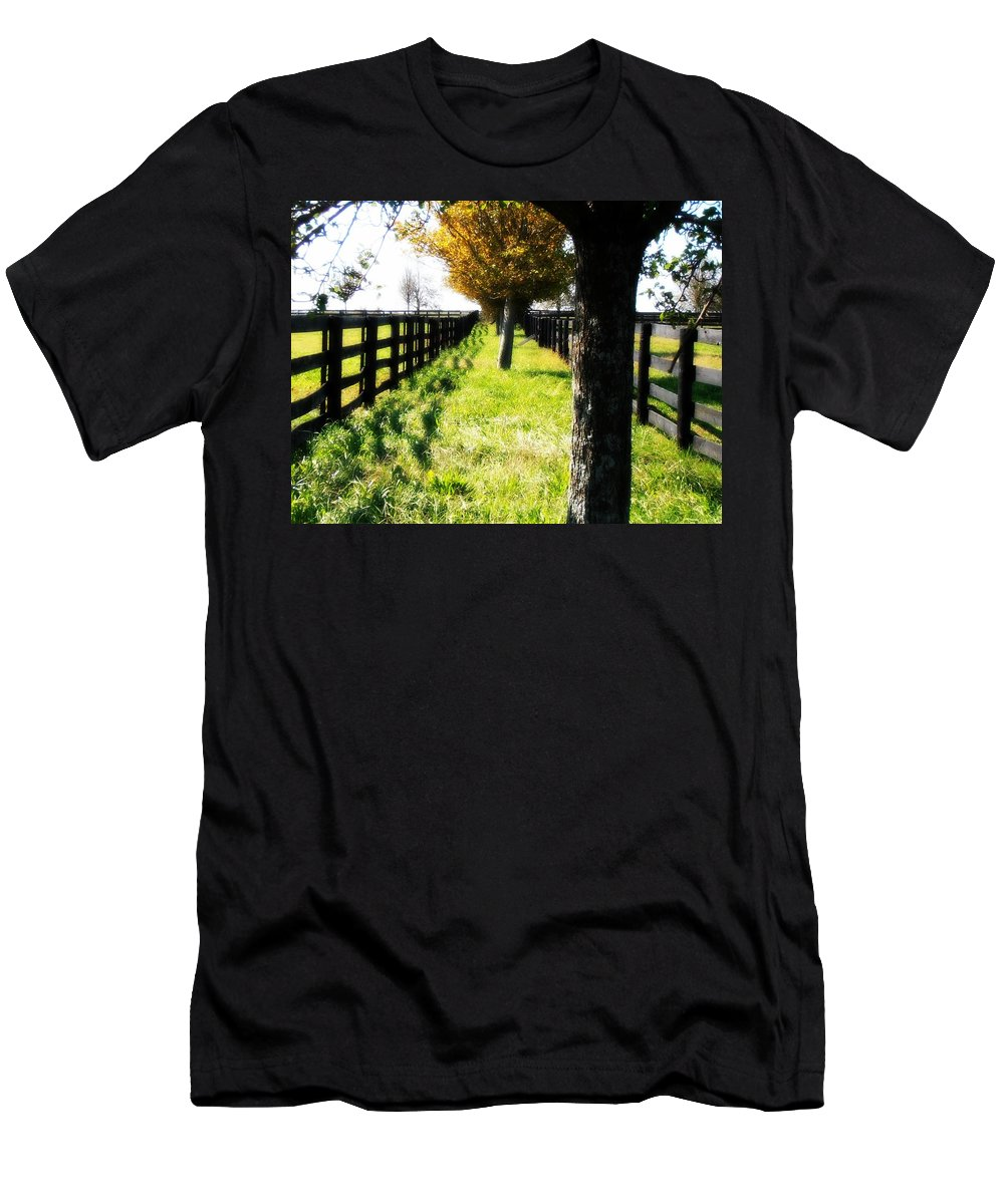 Farms Men's T-Shirt (Athletic Fit) featuring the photograph Between Two Farms by Kimberly Perry