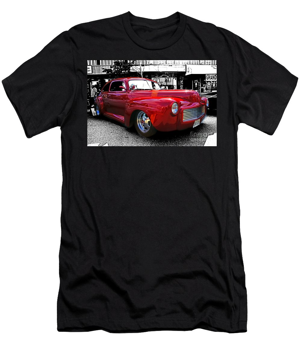 Old Cars Men's T-Shirt (Athletic Fit) featuring the photograph Big Red Abstract by Randy Harris