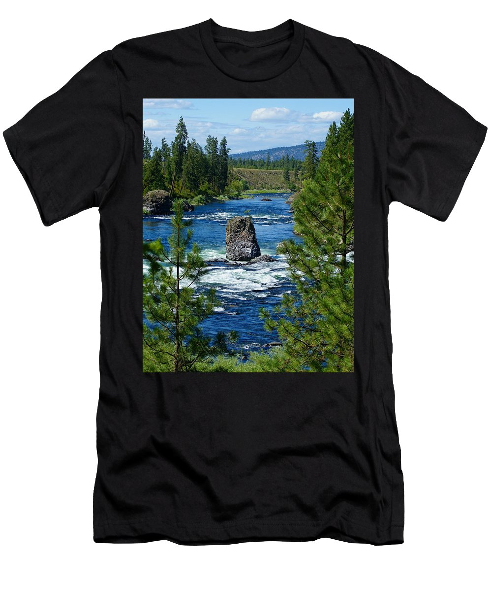 Spokane River Men's T-Shirt (Athletic Fit) featuring the photograph Big Rock In Spokane River by Ben Upham III