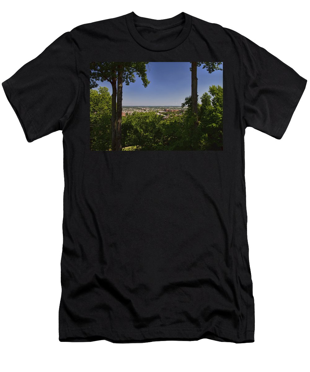 Birmingham Men's T-Shirt (Athletic Fit) featuring the photograph Birmingham Through The Trees by Kathy Clark