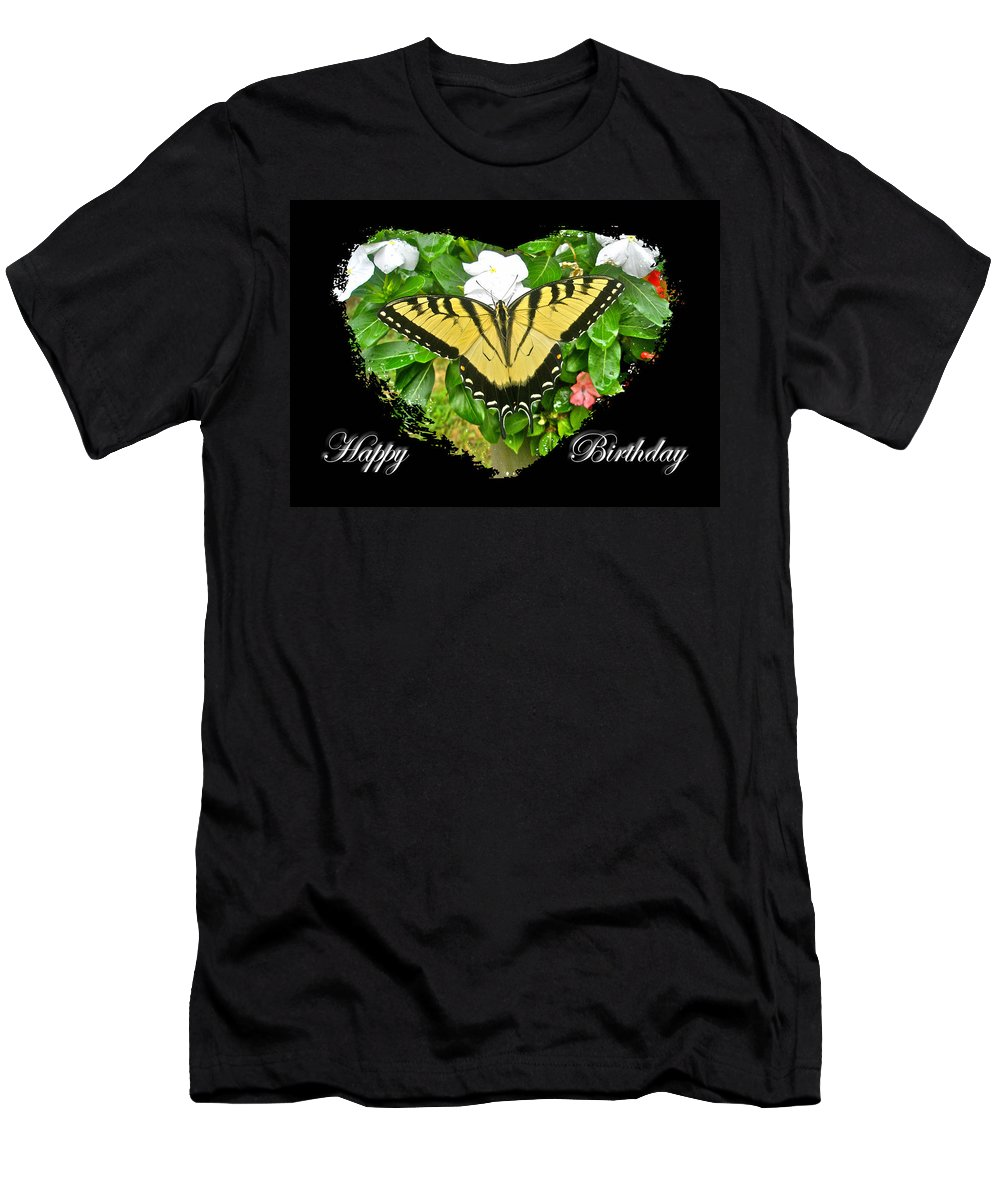 Birthday Men's T-Shirt (Athletic Fit) featuring the photograph Birthday Greeting Card - Tiger Swallowtail Butterfly by Mother Nature