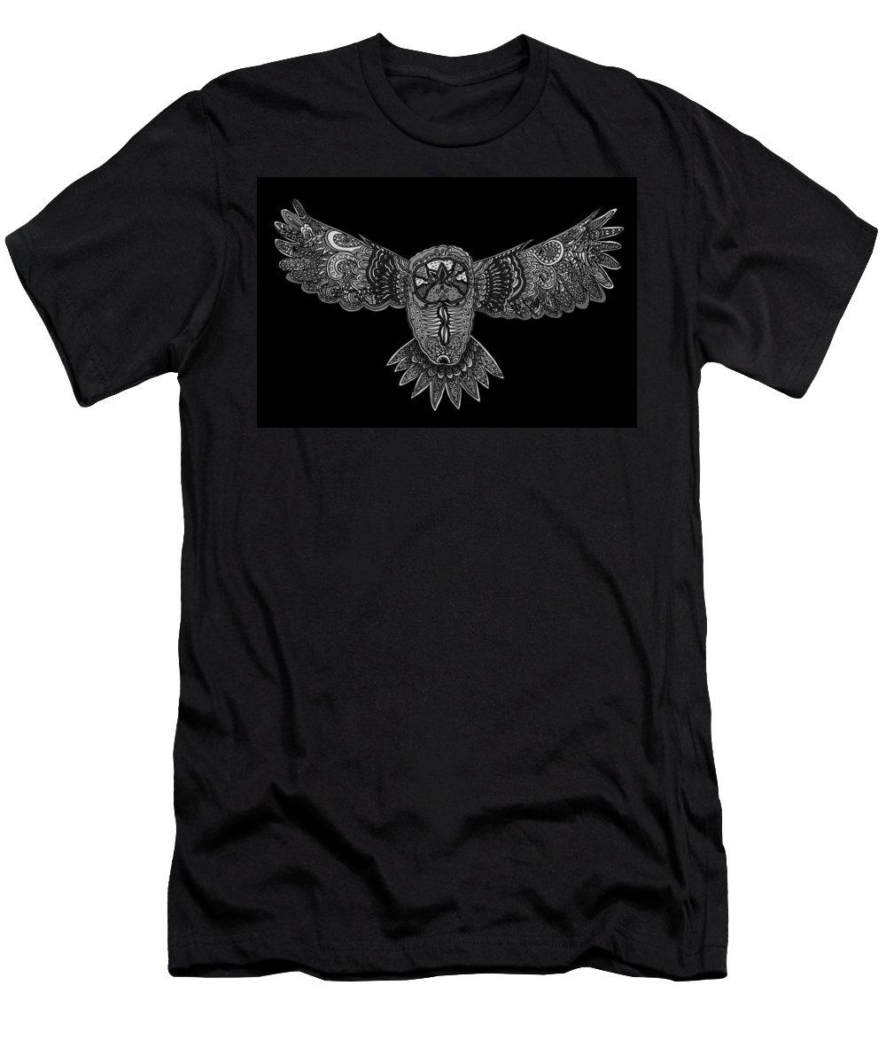 black and white owl t shirt for sale by karen elzinga