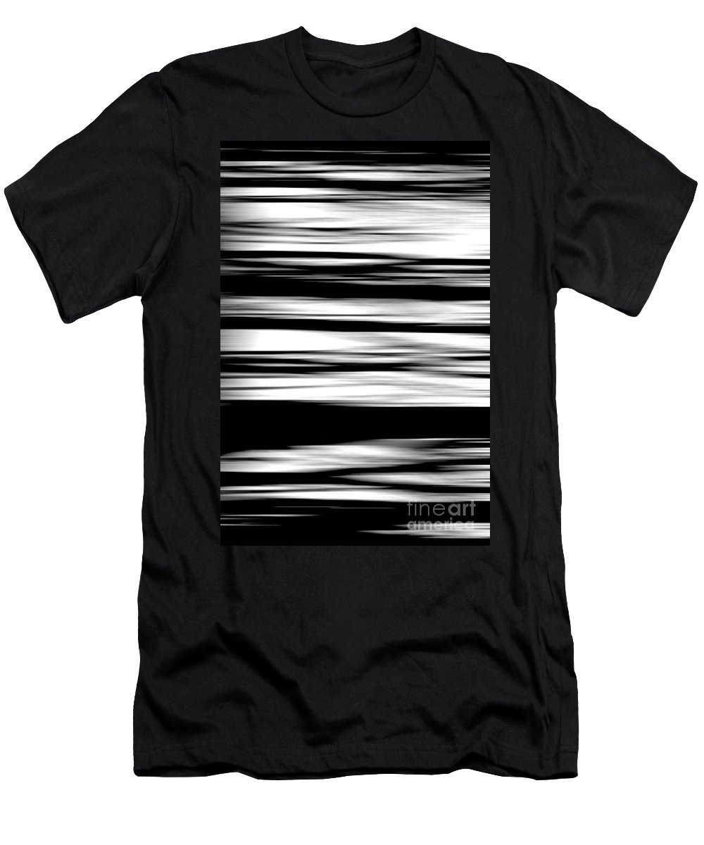 Black Men's T-Shirt (Athletic Fit) featuring the photograph Black And White Striped Wave Pattern by Simon Bratt Photography LRPS