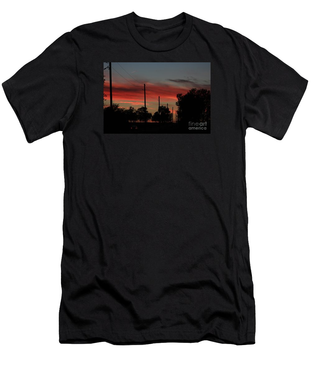 Sunset Men's T-Shirt (Athletic Fit) featuring the photograph Blazing Red Country Road Sunset by Robert D Brozek