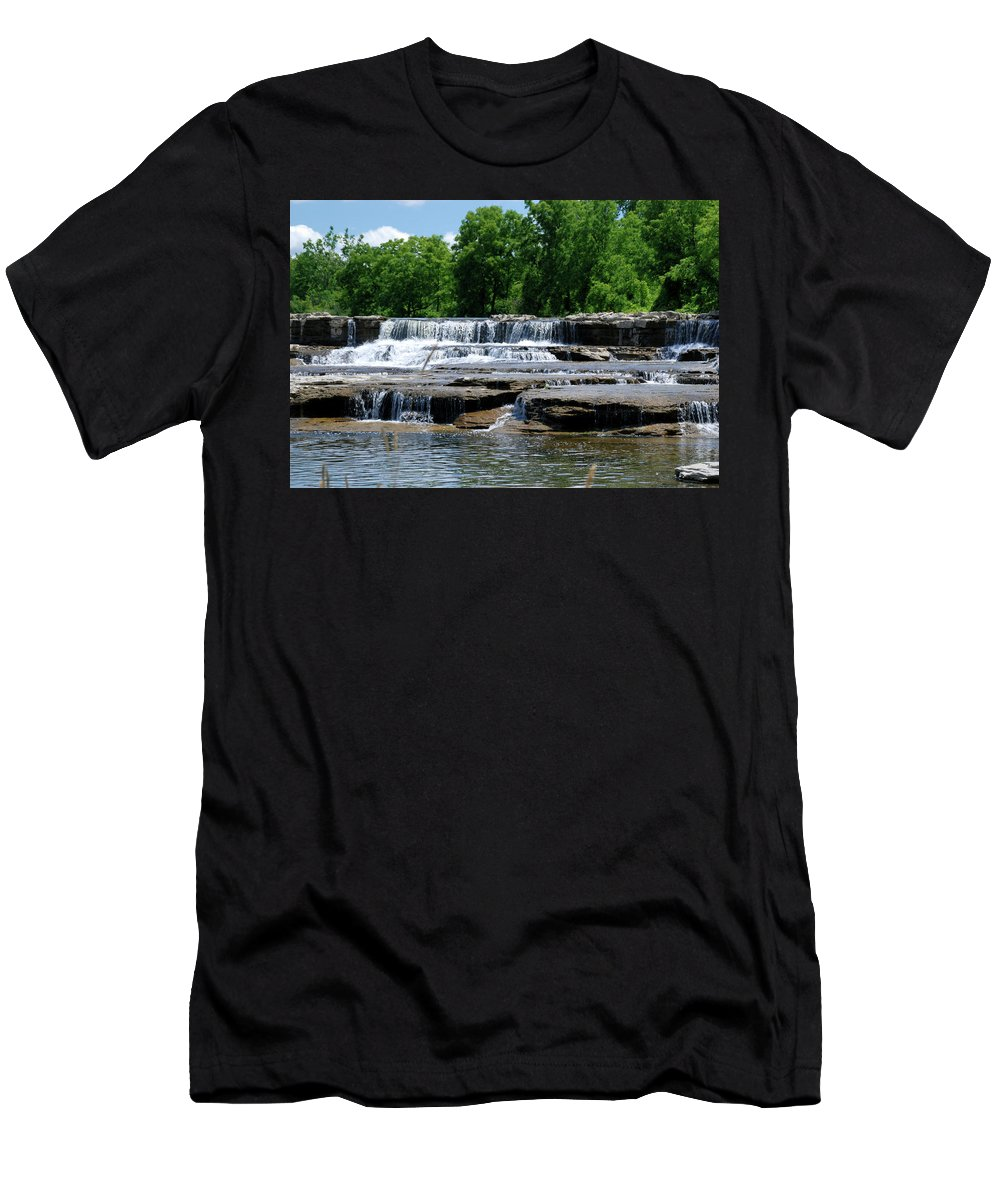 Waterfalls Men's T-Shirt (Athletic Fit) featuring the photograph Blossom Road Waterfalls 5123 by Guy Whiteley
