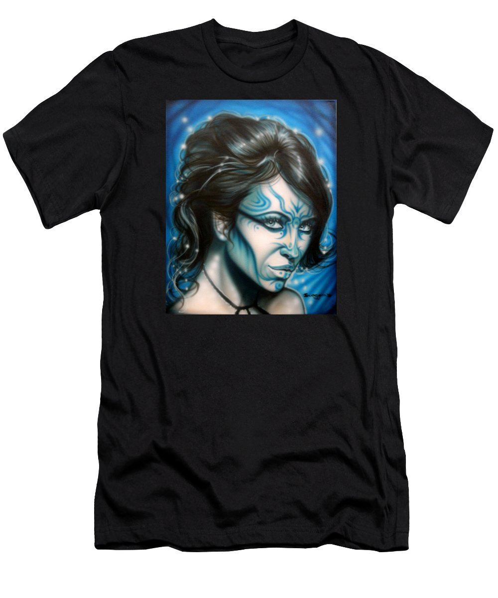 Fantasy Men's T-Shirt (Athletic Fit) featuring the painting Blue Beauty by Timothy Scoggins