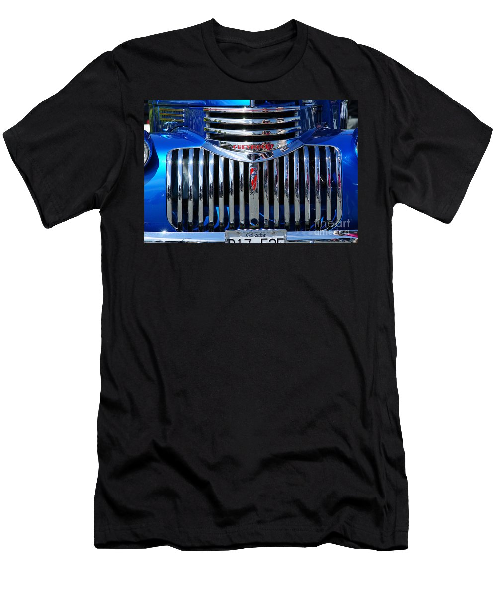 Custom Cars Men's T-Shirt (Athletic Fit) featuring the photograph Blue Chevy Pick-up Grill by Randy Harris