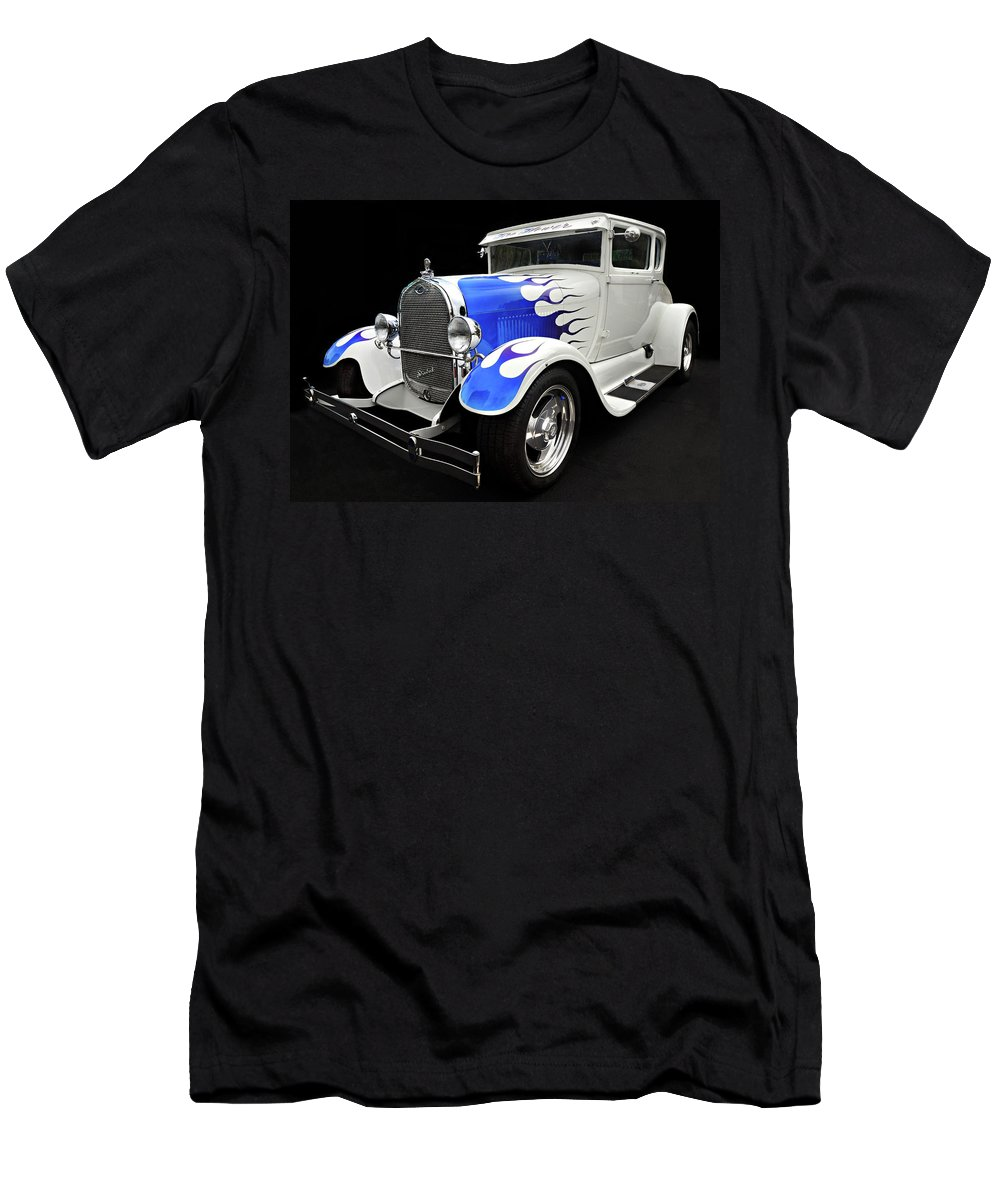 Custom Car Men's T-Shirt (Athletic Fit) featuring the photograph Blue Flames by Dave Mills