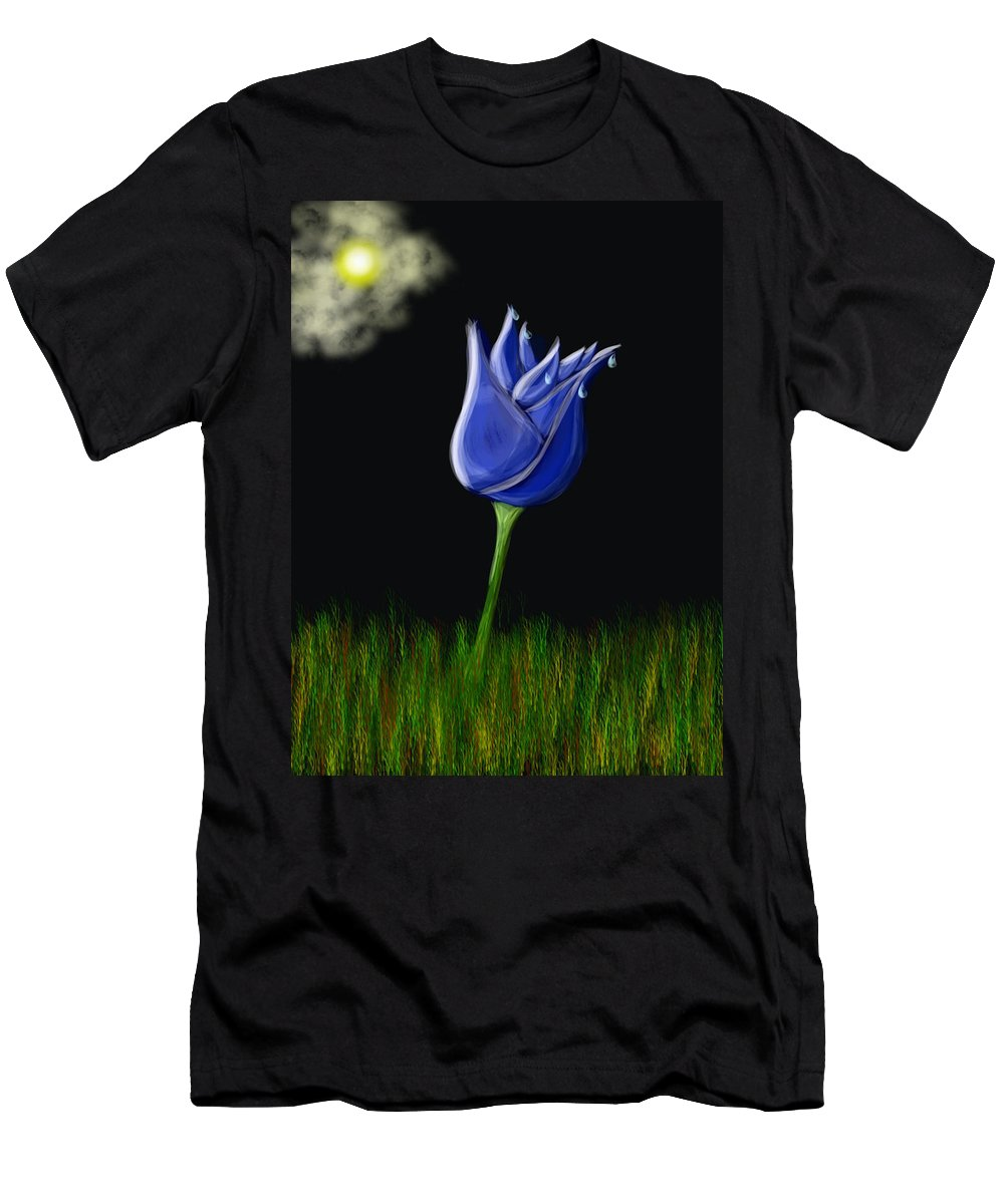 Men's T-Shirt (Athletic Fit) featuring the digital art Blue Flowers by Mathieu Lalonde