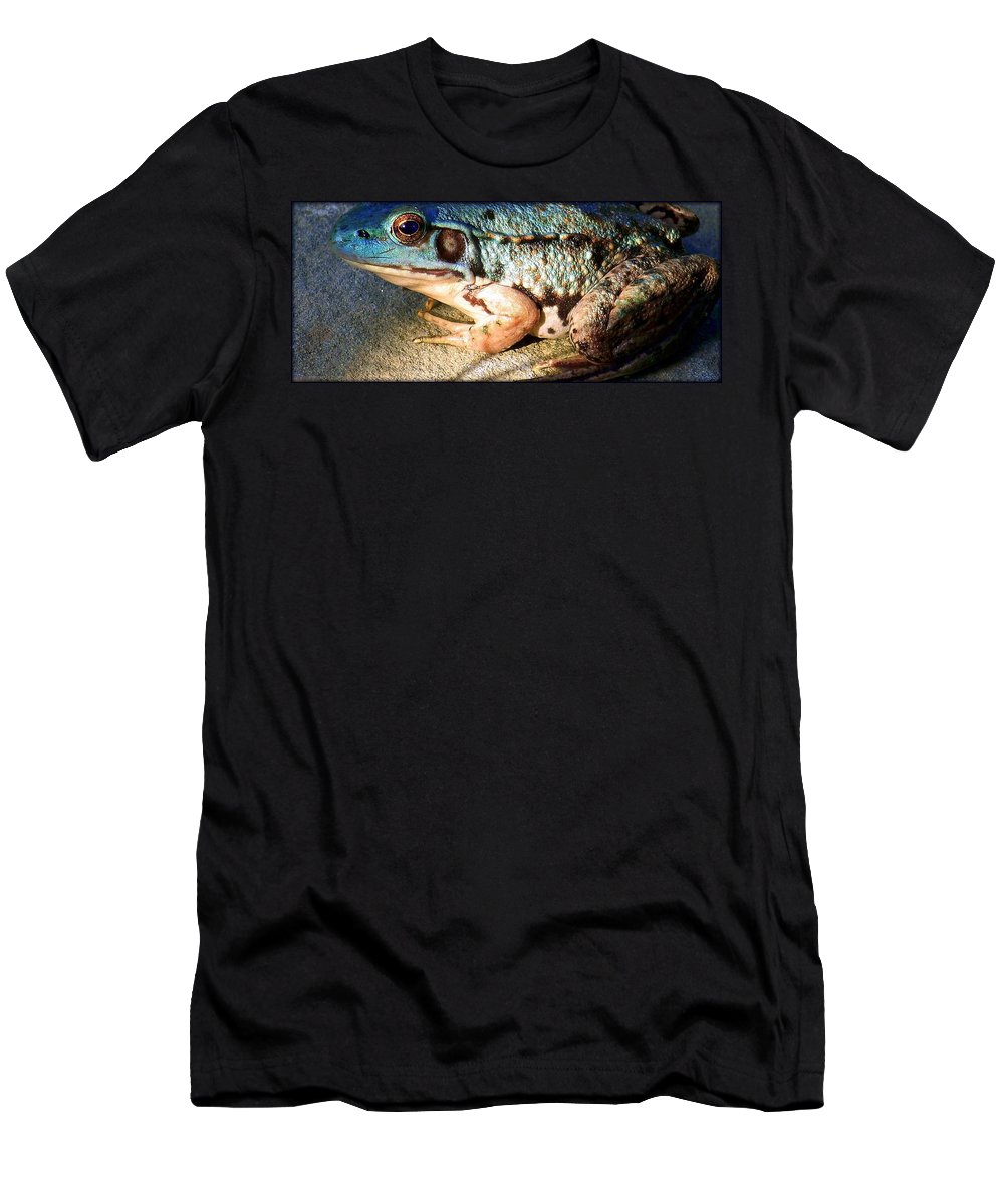 Frog Men's T-Shirt (Athletic Fit) featuring the photograph Blue Frog by Marysue Ryan