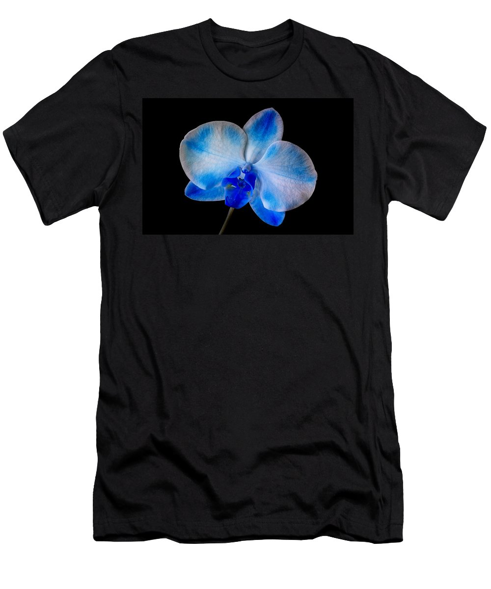 Orchid Men's T-Shirt (Athletic Fit) featuring the photograph Blue Orchid Bloom by Susan Candelario