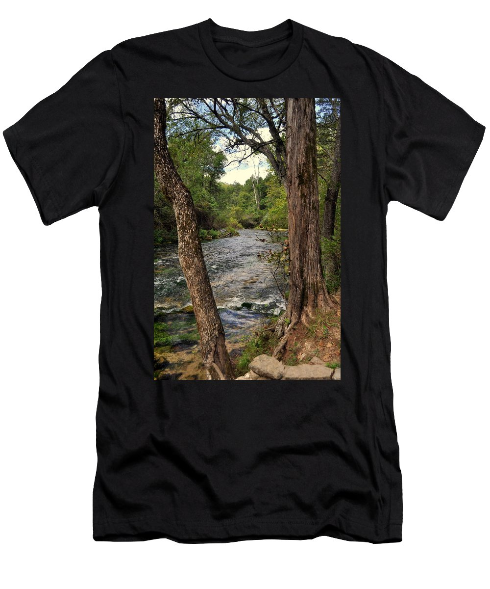 Stream Men's T-Shirt (Athletic Fit) featuring the photograph Blue Spring Branch by Marty Koch