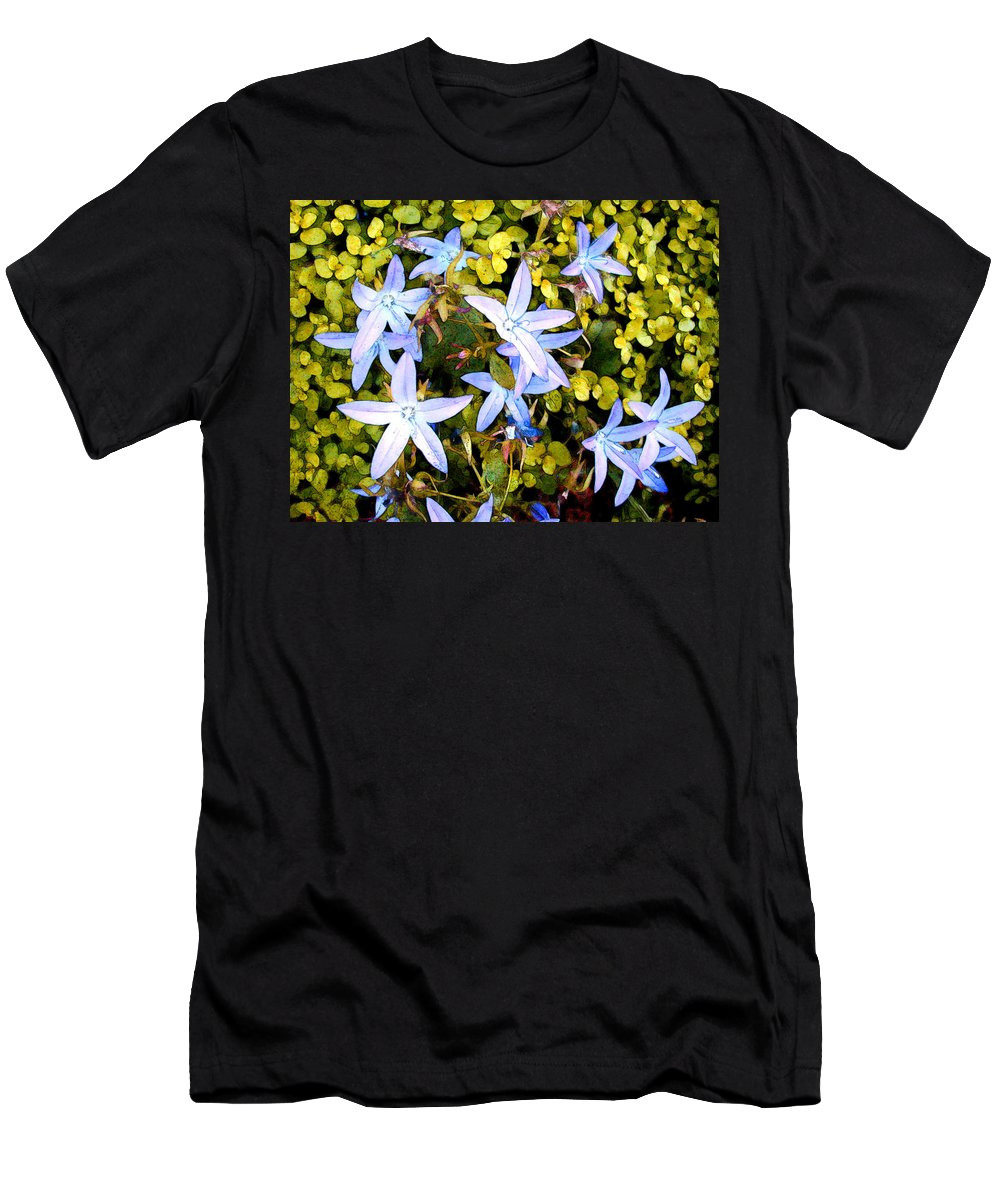 Flower Flowers Garden Star Blue Ground+cover Flora Floral Nature Natural Bloom Blooms Blossoms Blossom Bouquet Arrangement Colorful Plant Plants Botanical Botanic Blooming Gardens Gardening Tropical Men's T-Shirt (Athletic Fit) featuring the painting Blue Star Flowers by Elaine Plesser