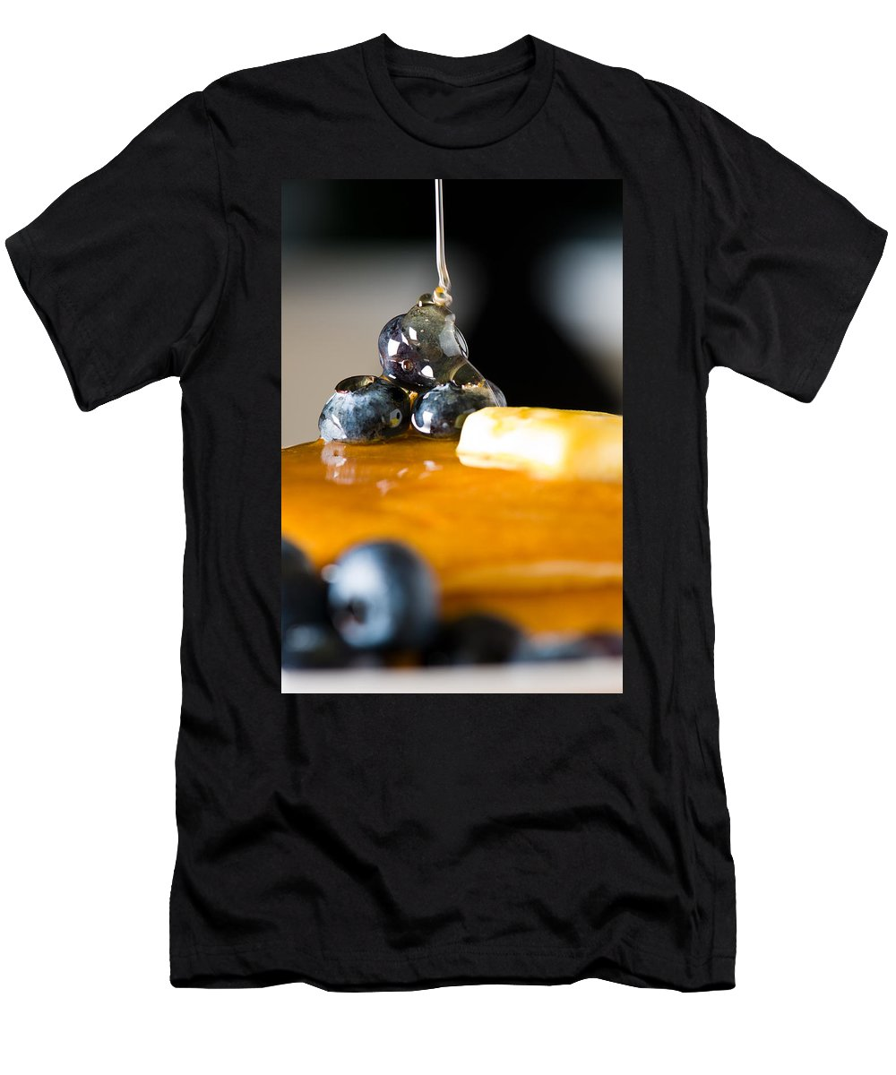 Berries Men's T-Shirt (Athletic Fit) featuring the photograph Blueberry Butter Pancake With Honey Maple Sirup Flowing Down by U Schade