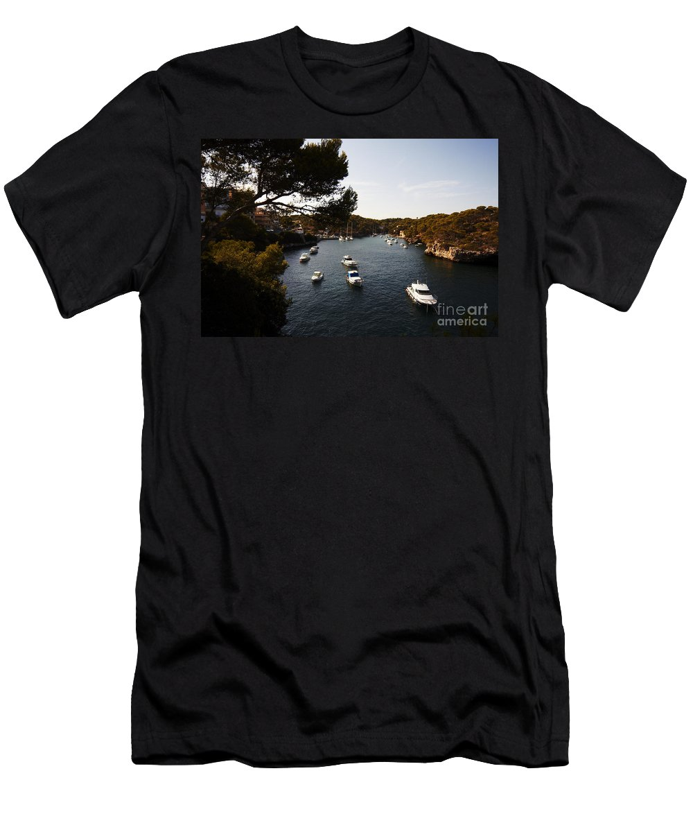 Cala Figuera Men's T-Shirt (Athletic Fit) featuring the photograph Boats In Cala Figuera by Agusti Pardo Rossello