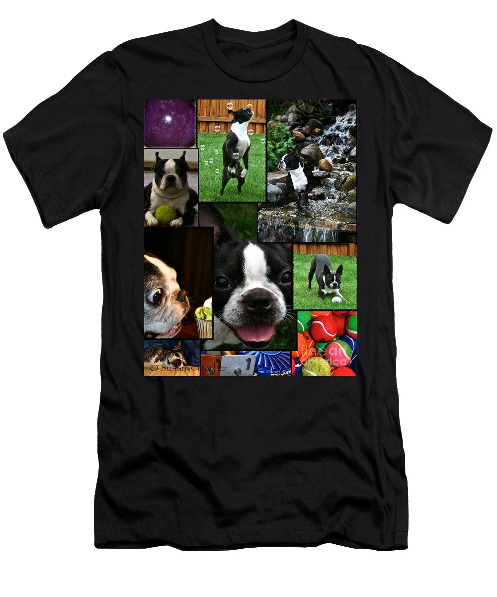 Animal Men's T-Shirt (Athletic Fit) featuring the photograph Boston Terrier Photo Collage by Susan Herber