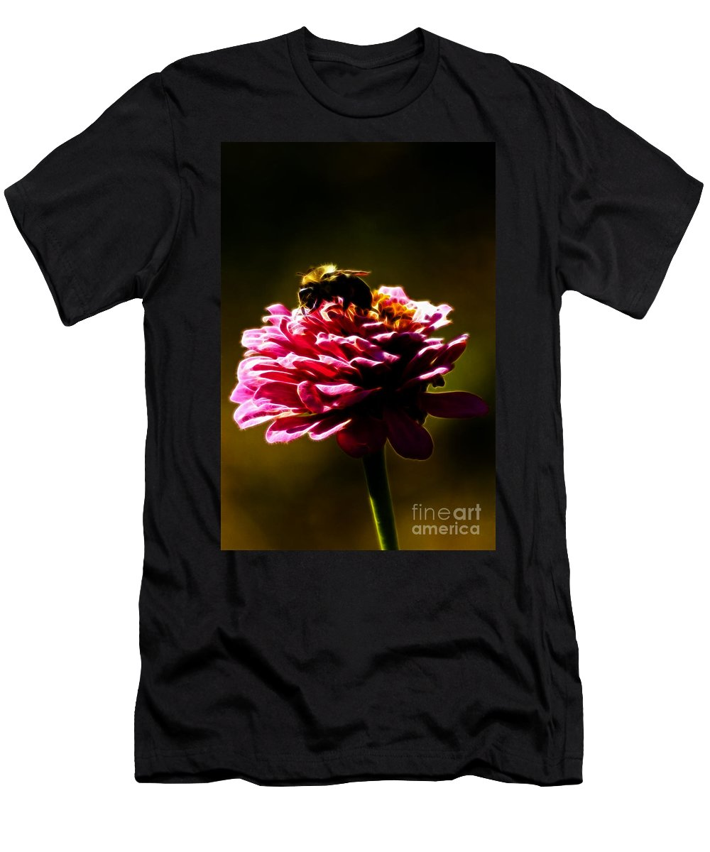 Zinnia Men's T-Shirt (Athletic Fit) featuring the photograph Breakfast Of Zinnias by Darleen Stry