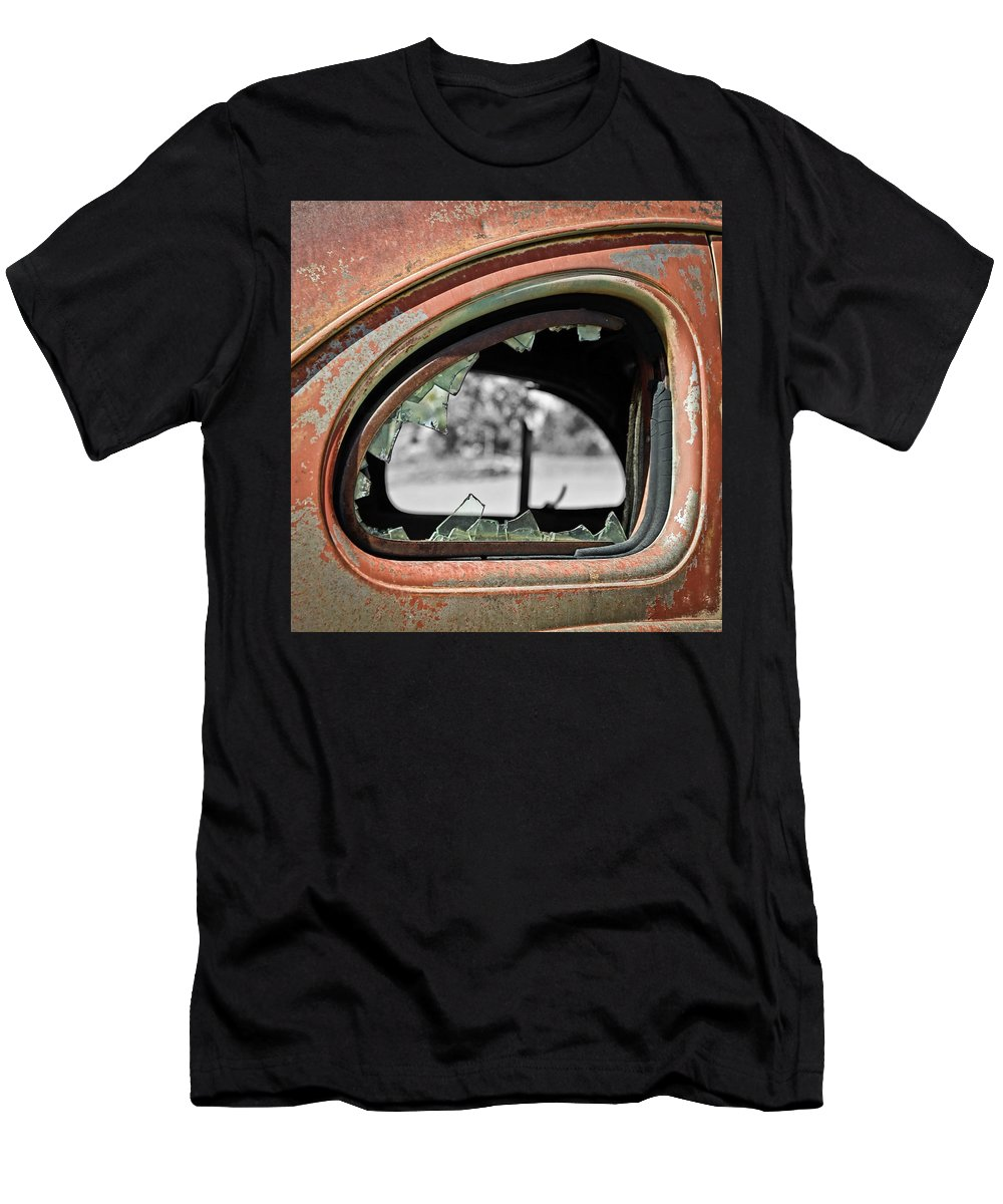 Old Car Men's T-Shirt (Athletic Fit) featuring the photograph Breaking Through Time by Steve McKinzie