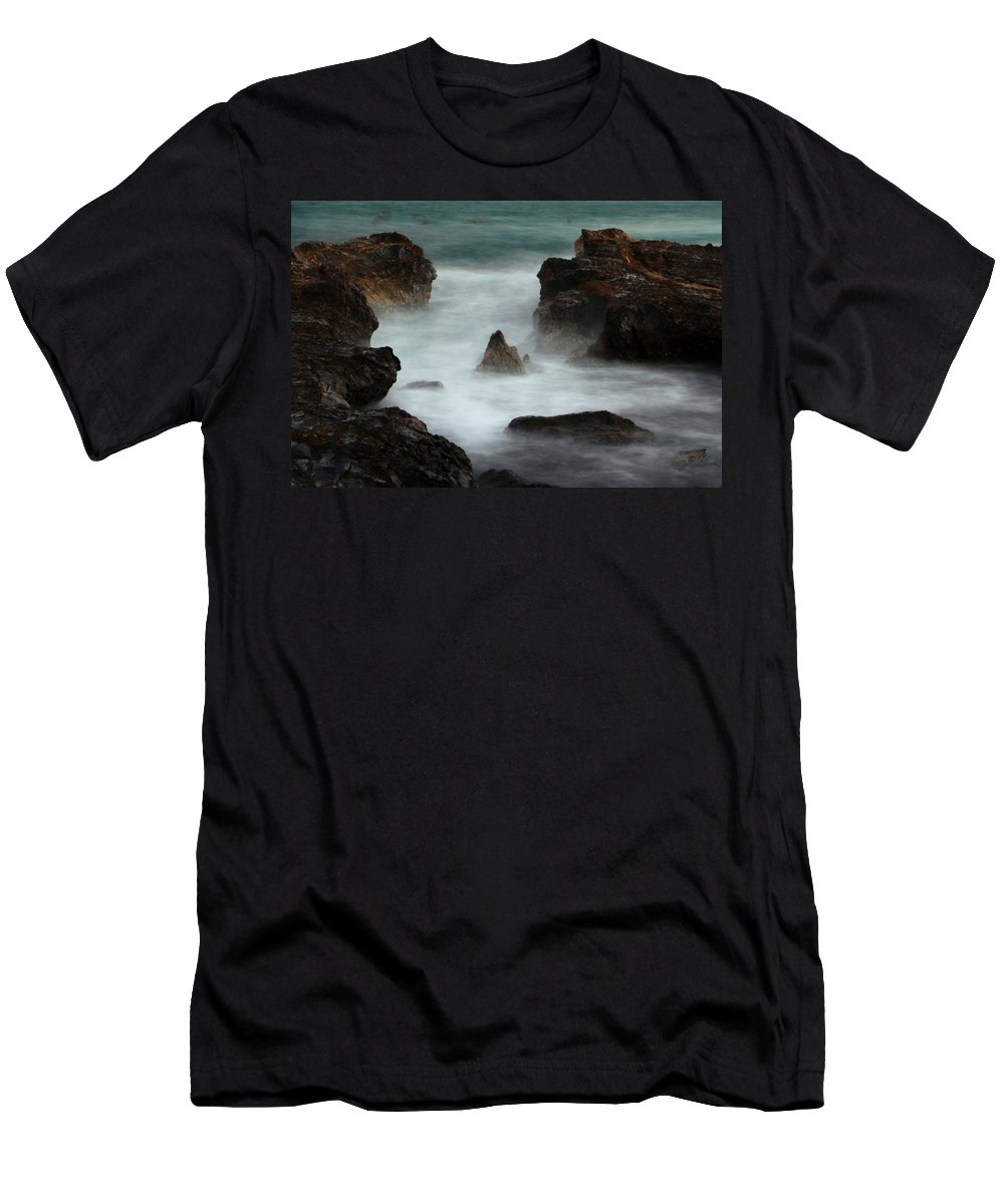 Oceans Men's T-Shirt (Athletic Fit) featuring the photograph Breaking Tides by Rebecca Akporiaye
