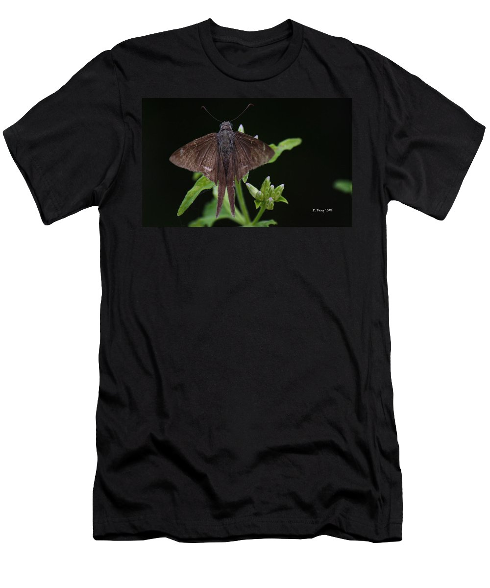 Roena King Men's T-Shirt (Athletic Fit) featuring the photograph Brown Butterfly Dorantes Longtail by Roena King