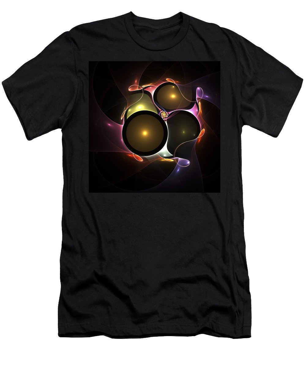 Bubble Bubbles Fractal Fractals Art Modern Color Colorful Light Lights Glowing Wonderful Abstract Wedding Men's T-Shirt (Athletic Fit) featuring the digital art Bubble Wedding by Steve K