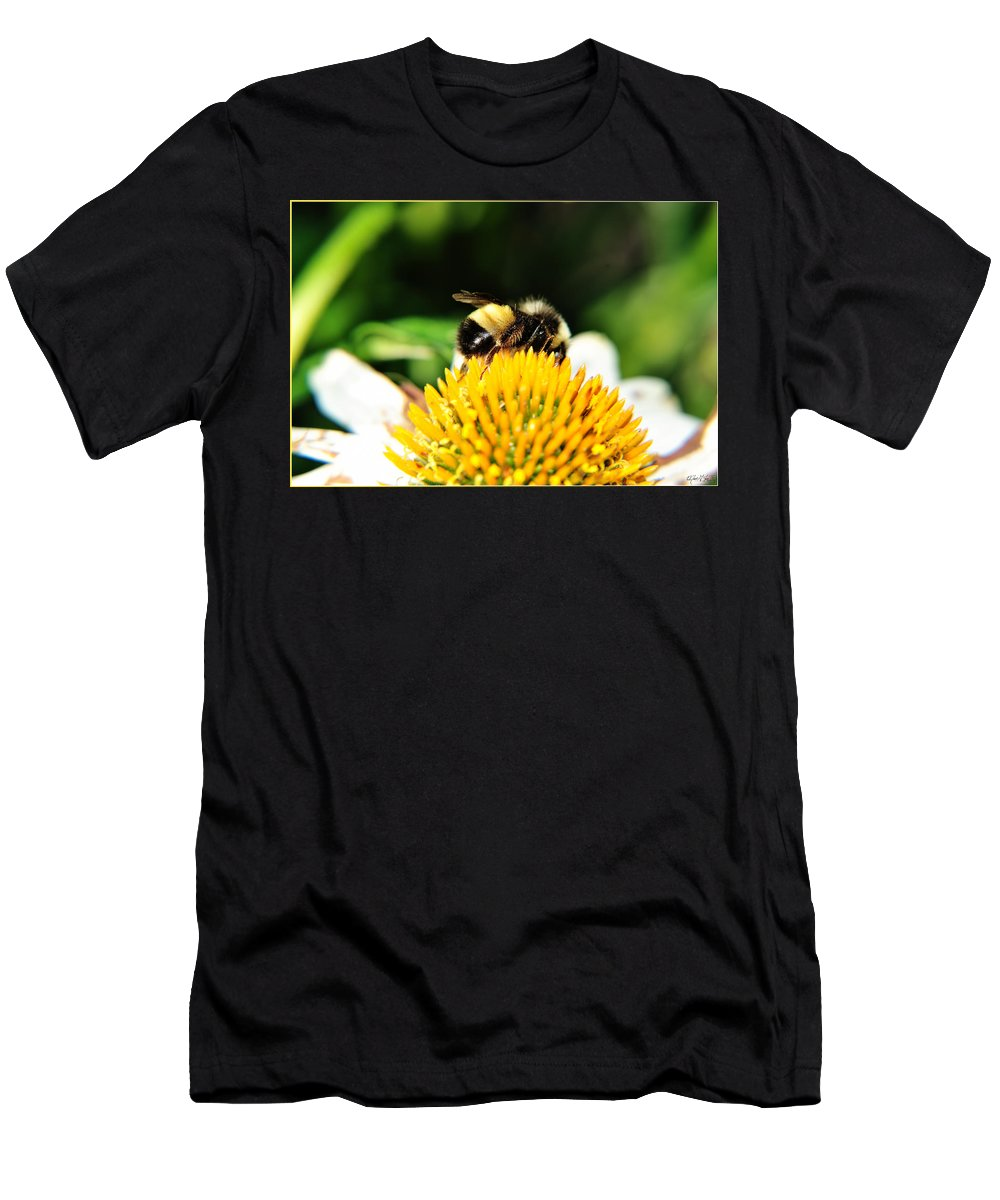 Men's T-Shirt (Athletic Fit) featuring the photograph Busy Bee Collecting On Echinacea Pow Wow by Michael Frank Jr