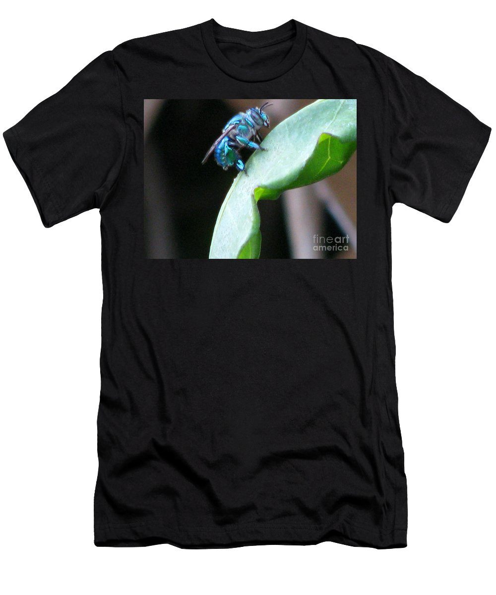 Orchid Bee Men's T-Shirt (Athletic Fit) featuring the photograph Busy Bee by Patricia Blake
