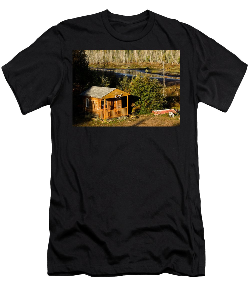 Cabin Men's T-Shirt (Athletic Fit) featuring the photograph Cabin On The River by Cale Best
