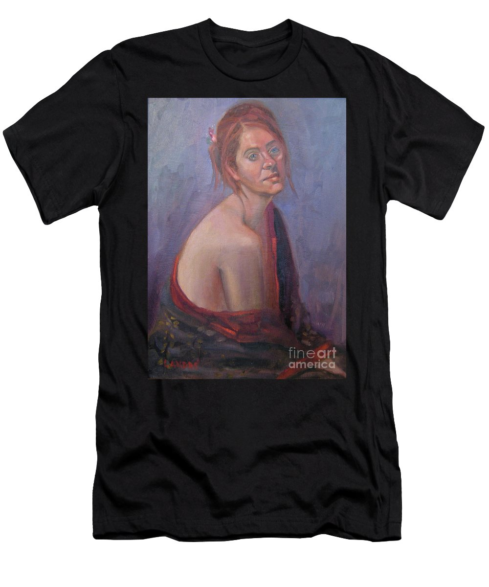 Figure Art Men's T-Shirt (Athletic Fit) featuring the painting Calm Contentment by Lilibeth Andre