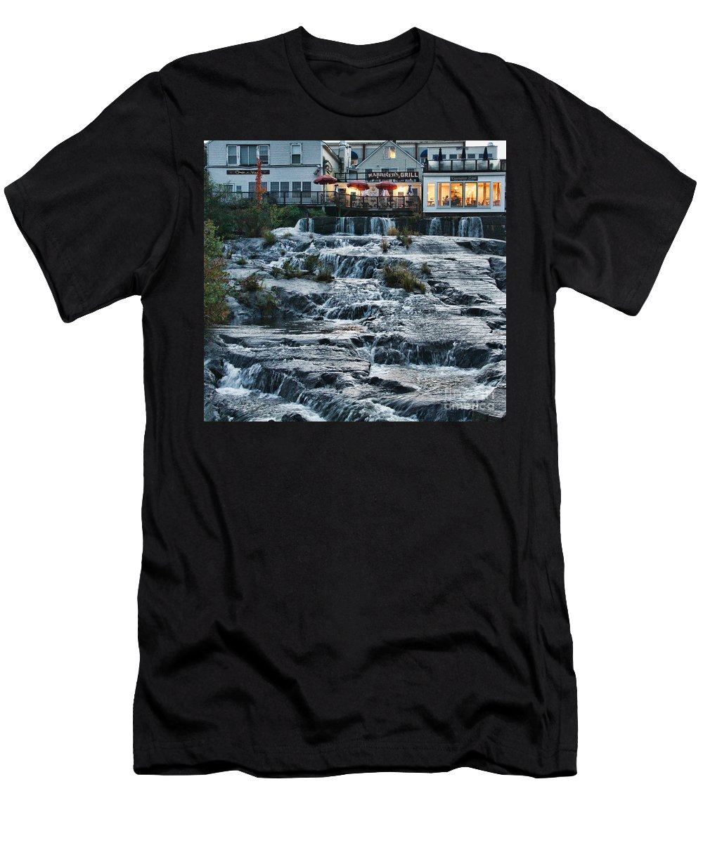Waterfalls Men's T-Shirt (Athletic Fit) featuring the photograph Camden Maine Waterfalls by Jack Schultz