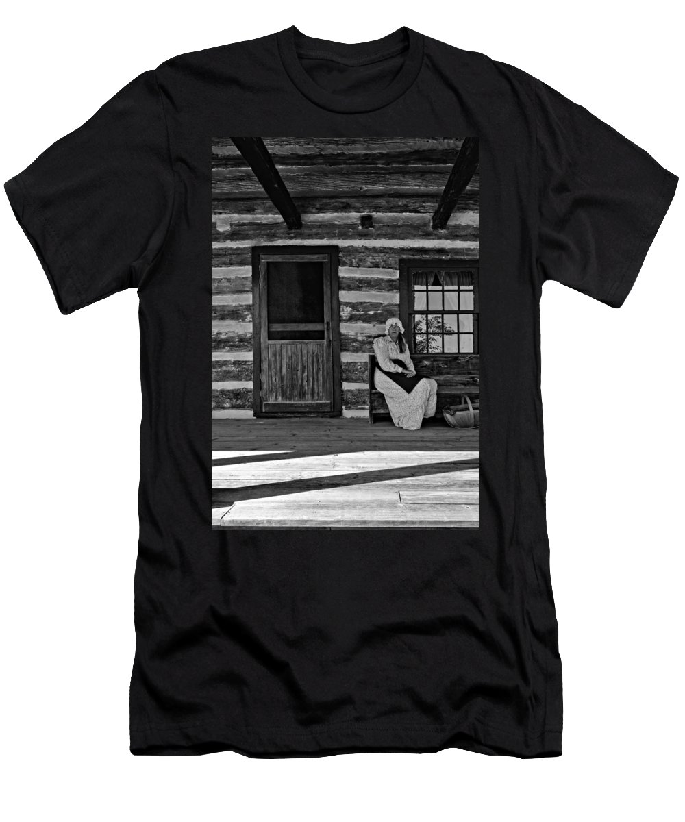 Grey Roots Museum & Archives Men's T-Shirt (Athletic Fit) featuring the photograph Canadian Gothic Monochrome by Steve Harrington