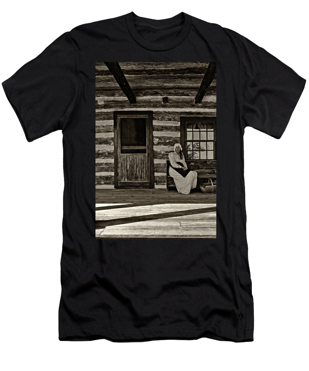 Grey Roots Museum & Archives Men's T-Shirt (Athletic Fit) featuring the photograph Canadian Gothic Sepia by Steve Harrington