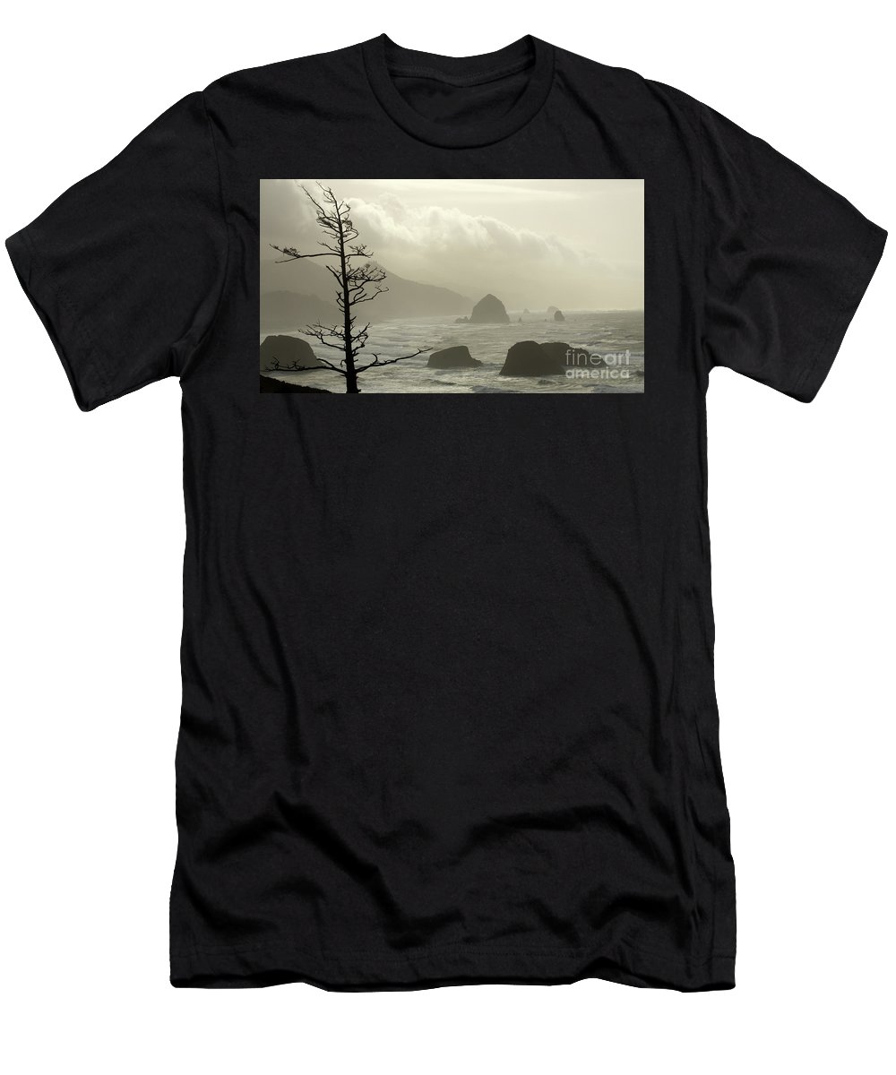 Pacific Ocean Men's T-Shirt (Athletic Fit) featuring the photograph Cannon Beach 2 by Bob Christopher