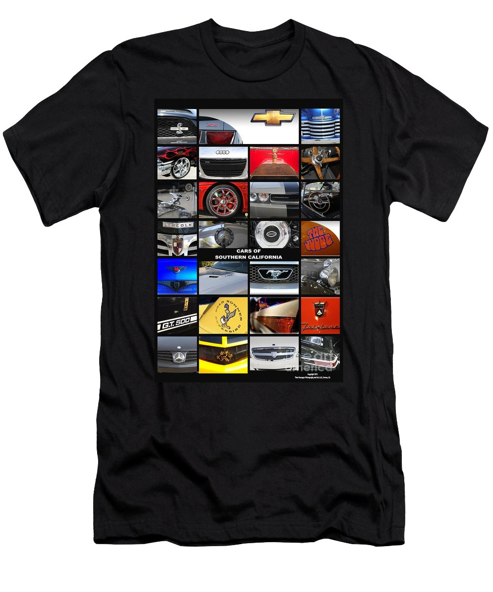 Cars Men's T-Shirt (Athletic Fit) featuring the photograph Cars Of Southern California by Tommy Anderson