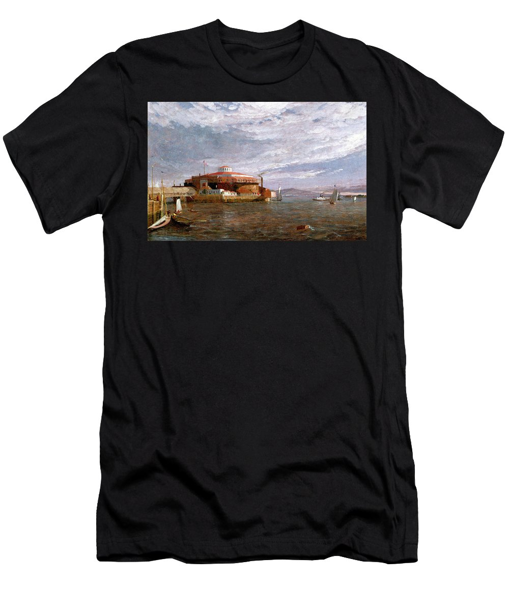 View Men's T-Shirt (Athletic Fit) featuring the painting Castle Garden Day by Jasper Francis Cropsey