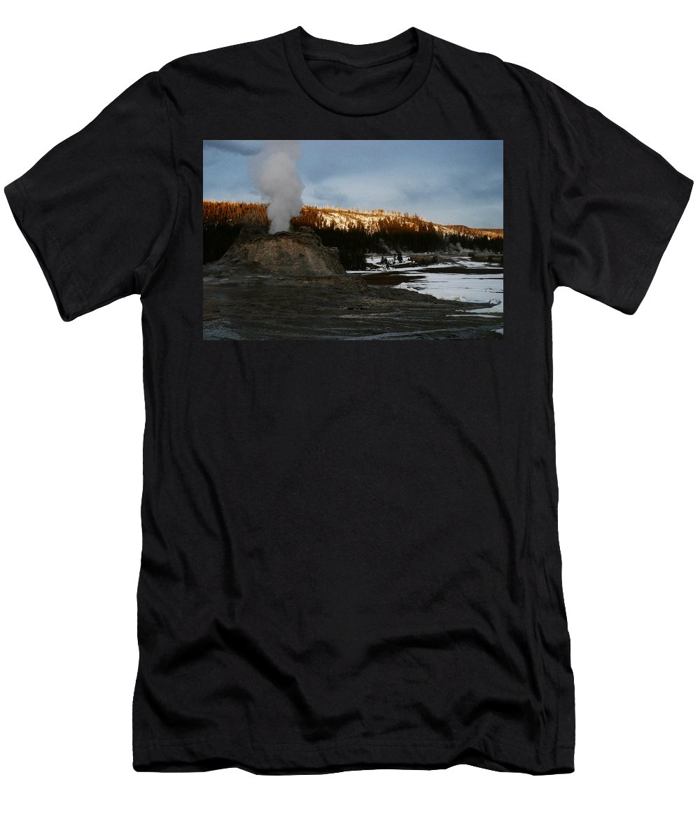Geysers Men's T-Shirt (Athletic Fit) featuring the photograph Castle Geyser Yellowstone National Park by Benjamin Dahl