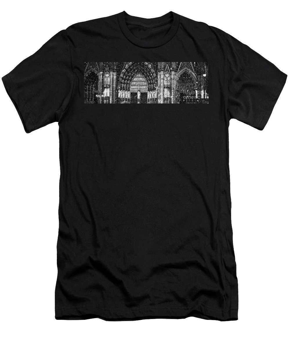 Snow Men's T-Shirt (Athletic Fit) featuring the photograph Cathedral In The Snow Panorama by Andy Prendy